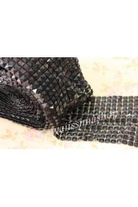 1mt rete nastro borchie piramide 7mm nero lucido in resina da cucire incollare