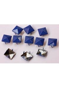 150pz Borchie sfuse metallo piramide con 4 alette colore  blu smaltato
