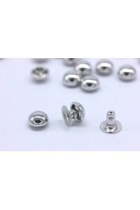 Borchie semisfera a rivetto 8mm color argento IN OTTONE ANTIRUGGINE quantità a scelta