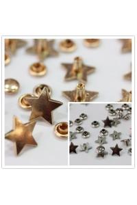 Borchie sfuse in lega forma stella con rivetto colore argento/oro rosa 12mm