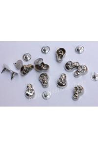 40pz Borchie teschio con rivetto colore argento 12X8MM*40pcs SKULL STUDS
