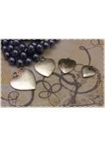 8pz ciondolo piatto cuore colore argento misure scelte color silver heart charm