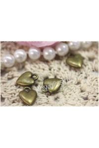 Charm cuore cuoricino in metallo color bronzo 1,4*1,1cm ciondolo bijoux