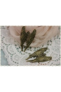 2 pezzi charm forma ali d'angelo in metallo colore bronzo misura 3,9X2,3cm
