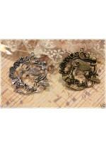 2pz Alice in Wonderland colore scelta argento/bronzo 4,2x4.2 cm ciondolo charm