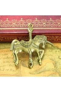 2pz charm ciondolo cavallo unicorno giostrina color bronzo misura 4,2x4,2cm