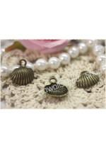 4pz charm congliglia bombata in metallo color bronzo 1,8*1,6 cm ciondolo bijoux