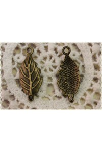 4 pezzi charm forma di foglia con 2 anellini in metallo colore bronzo 2,8X1,1cm
