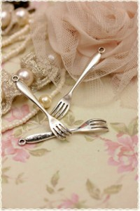 2pz Charm forchetta color argento 5,5 x 0,9 cm per collane portachiavi handmade