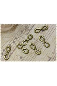 Charm forma simbolo infinito in metallo color bronzo misura 2.3X0.8cm