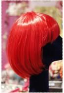 Parrucca caschetto frangia liscio rosso