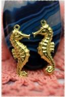 charm cavalluccio marino ciondolo vintage color ORO 27*10MM in ottone
