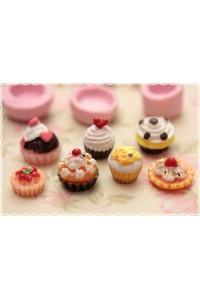 stampi gomma siliconica set forme base cupcake - lotto 7pz fimo cernit formine