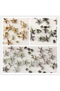 Borchie sfuse in lega forma stella a rivetto colore argento/oro rosa/nero 13mm